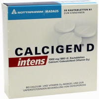 Abbildung von Calcigen D Intens 1000 Mg/880 I.e.kautabletten  20 Stück