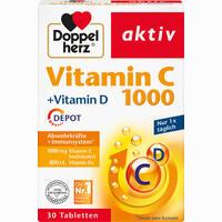 Abbildung von Doppelherz Aktiv Vitamin C 1000 + Vitamin D Depot Tabletten 30 Stück