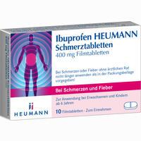 Abbildung von Ibuprofen Heumann Schmerztabletten 400mg Filmtabletten 10 Stück