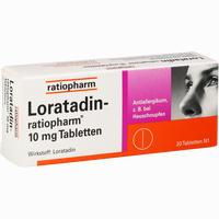 Abbildung von Loratadin- Ratiopharm 10mg Tabletten  20 Stück